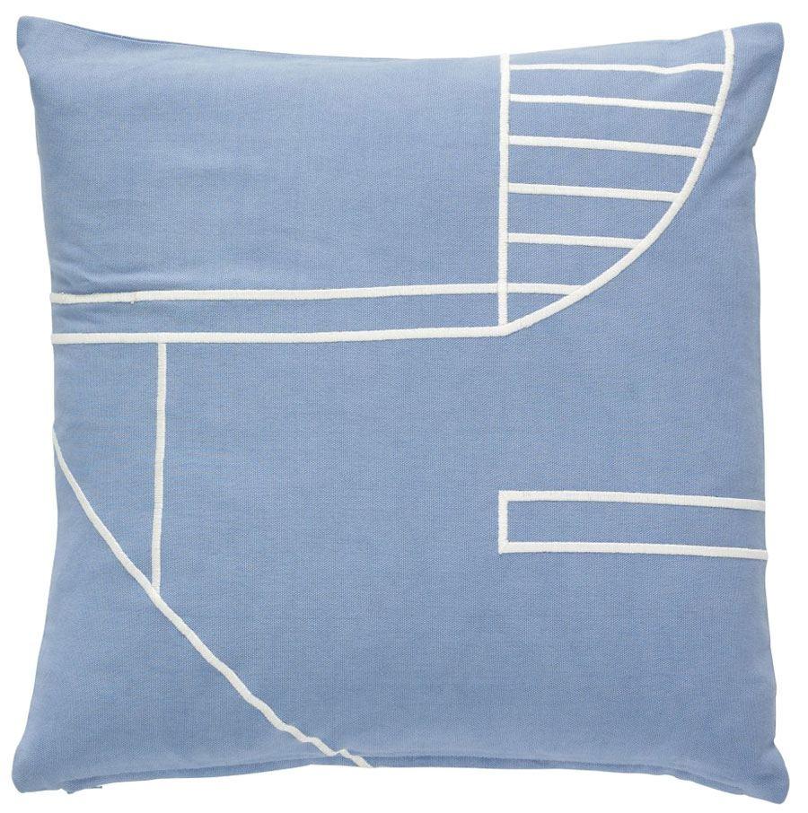 Kissen Baumwolle Blau Weiß