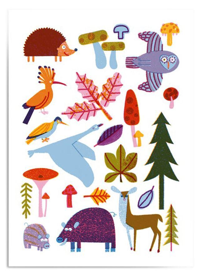 Woodland Animals Postkarte