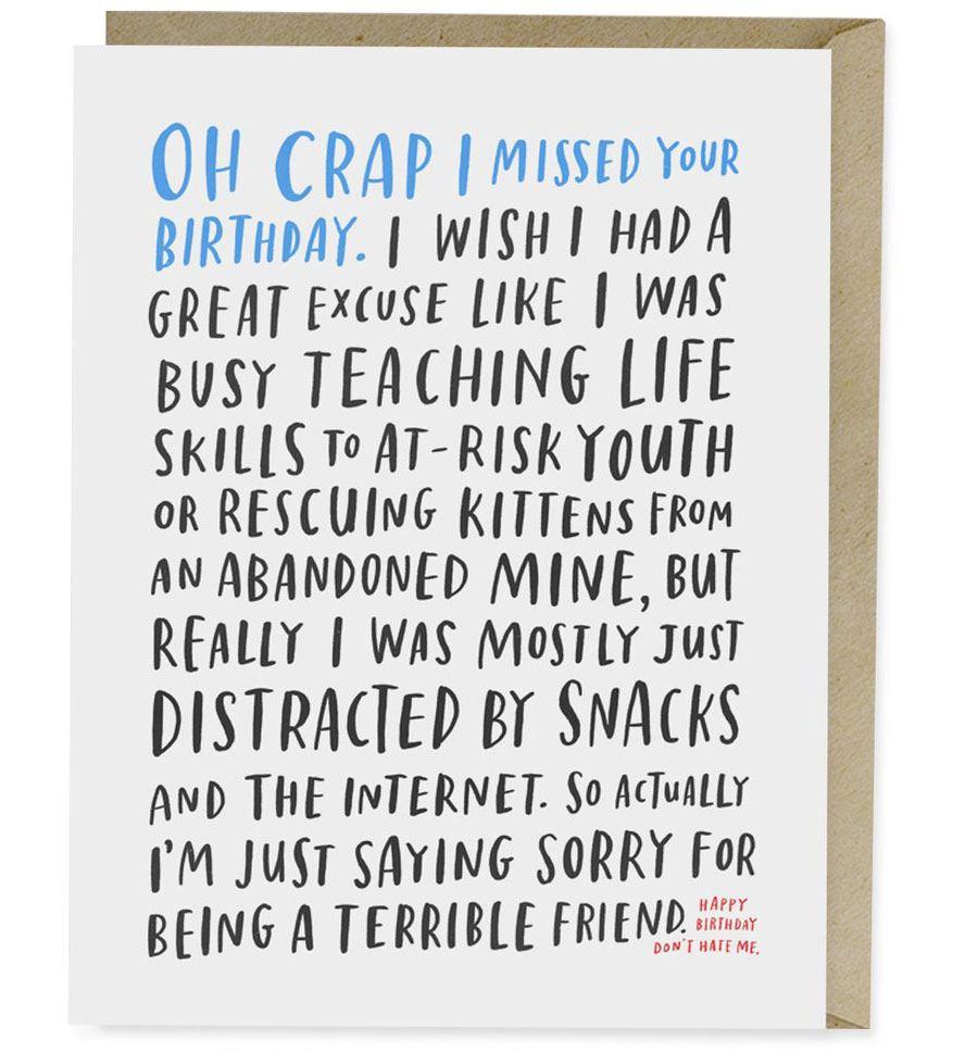 Awkward Belated Birthday Karte