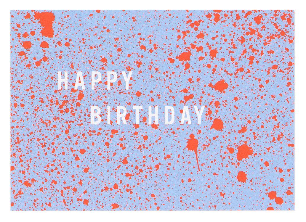 Happy Birthday Sprenkel Rot Hellblau Postkarte