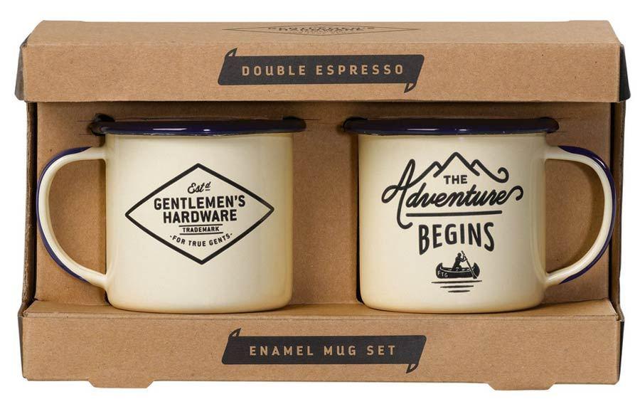 Espresso-Emaillebecher-Set The Adventure Begins Cream