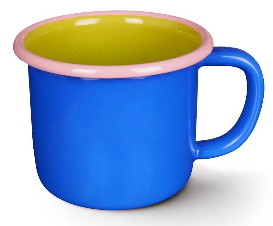 Colorama Mug Electric Blue and Chartreuse w/ Soft Pink Rim