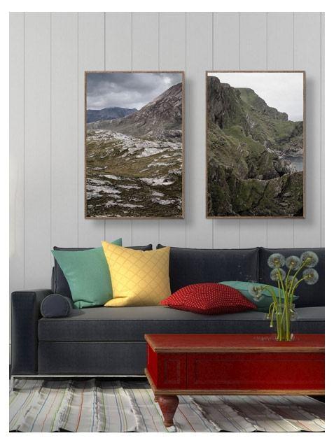 Bjerge og hedelandskab Poster (50 x 70 cm)